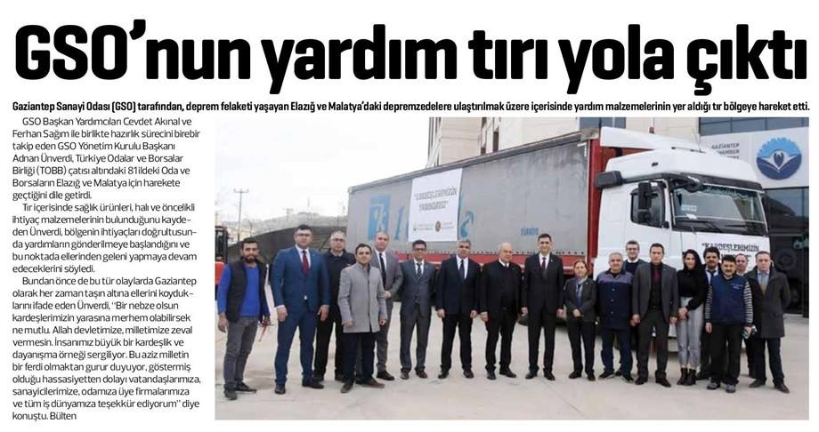 GSO'NUN YARDIM TIRI YOLA ÇIKTI